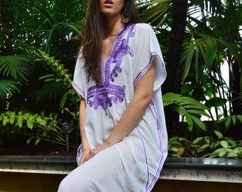 White Purple Marrakech Resort Caftan Kaftan -Spring dress,Summer dress, trendy, beach cover ups, resortwear,maxi dresses, birthdays, h