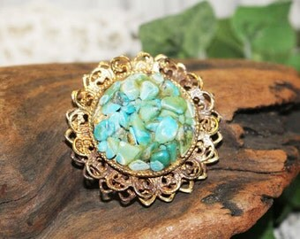 Turquoise and Gold Vintage Pin, Vintage Brooch    -   M