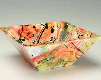Colorful Square Personal Bowl or Small Serving, Modern Abstract Square Pottery Bowl, Ceramic Dinnerware, Square Dinnerware