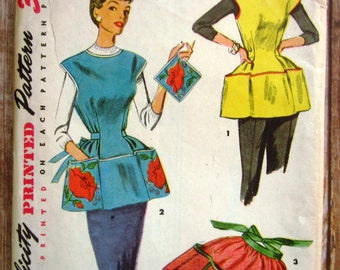Vintage 1950s Easy to Sew Cobbler Apron, Half Apron and Pot Holder Size Small Simplicity Pattern 4492 Cut/Complete