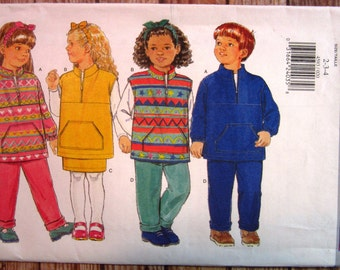 Vintage 1990s Very Easy to Sew Childrens Top, Skirt, Pants and Headband Sizes 2 3 4 Butterick Pattern 4593 UNCUT