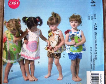 Easy to Sew Baby Girls Dress, Top, Shorts and Appliques Sizes NB S M L XL McCalls Pattern M6541 UNCUT