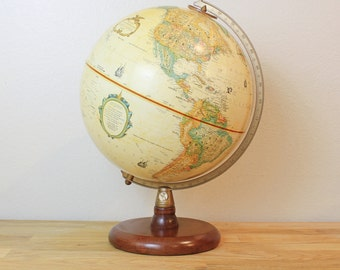 "Vintage Replogle 9"" World Classic Series Globe with Wood Stand / Made in USA / Item No. 1710"