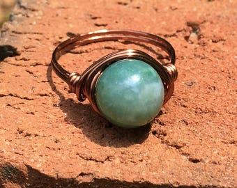 Fancy Jasper Stone , antique copper wire wrapped Ring - size 10 1/4 - 10mm gemstone green  , men women handmade jewelry - my soul can dance
