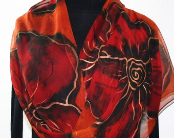 Silk Scarf Hand Painted. Orange Terracotta, Red, Black Chiffon Silk Shawl BRONZE FLOWERS. Large Size 14x72.  Handmade Birthday Gift