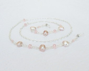 Freshwater Pearl Eyeglass Chain, Pink Pearl Eyeglass Necklace Holder Chain Beaded, Light Pink Pearl Lanyard, Reading Glasses Chain, For Her
