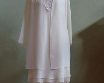 "Vintage 80's Another Thyme Cream 2-Piece  Matching Dress & Separate Skirt Bust 36"" Waist: 25"" - 30"" (elastic waistband)"