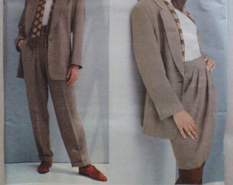 DKNY Vogue American Designer Pattern - Lined Jacket, Wrap Skirt and Cuffed Pants - Vogue 1024 - Sizes 12-14-16, Bust 34 - 38, Uncut