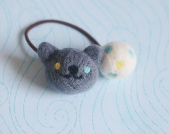 Needle Felted Hair Tie (Neko Atsume Cat)