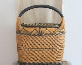 Vintage Tall Woven Rattan Basket With Handle