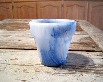 Blue & White Swirl Akro Agate Ribbed Top Flower Pot