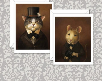 Victorian Cat & Mouse Notecards - Cat Portrait Cards - Mouse Portrait Cards