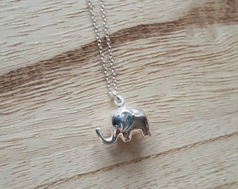 Sterling Silver Elephant Necklace - Elephant Pendant - Silver Elephant - Silver Necklace - Lucky Elephant - Layering Necklace - Elephant -