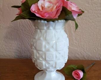 Westmoreland Old Quilt Pedestal Vase in Milk Glass - Oak Hill Vintage