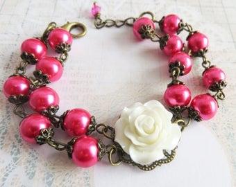 Hot Pink Bracelet, Beaded Bracelets White Flower Bracelet, Bridesmaid Gift, Country Wedding Jewelry, Rose Bracelet, Rustic Jewelry