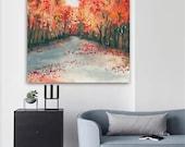 Watercolor Landscape Painting - Autumn Journey Fall Nature Landscape Woodland Scenic Art Print