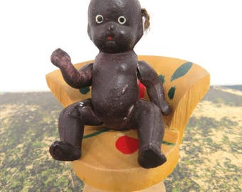 Vintage Black Americana Bisque Baby Doll, Jointed Arms & Legs, Made In Japan