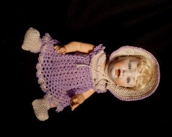 "Antique 13"" Hertel Schwab Toddler Bent Leg Doll 152 4"