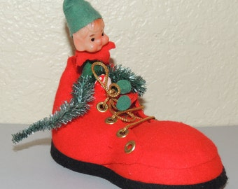 Vtg ELF in a Shoe Christmas Ornament