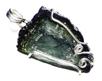 Blue Watermelon Tourmaline Slice Pendant in Sterling Silver (18.3 ct) Rough Green Tourmaline Necklace, Raw Tourmaline Jewelry Gift For Her