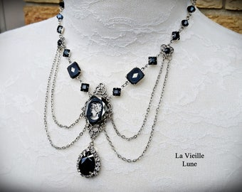 Jet Gothic Necklace, Cameo Victorian Necklace, Jet Cameo Necklace, Victorian Jewelry Mourning Necklace, Silver Gothic Jewelry
