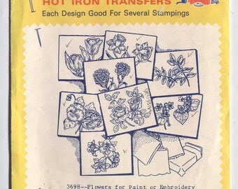 Various FLOWERS Designs - Hot Iron Embroidery Transfers - Aunt Martha's - Cut & Used in OPENED Packaging - On Sale!