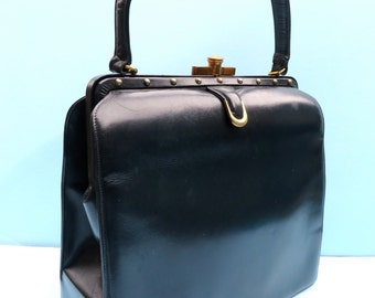 Vintage 1950's/Navy Blue Leather Purse Handbag Large/50's Large Navy Purse with Top Handle/50's Large Navy Blue Handbag