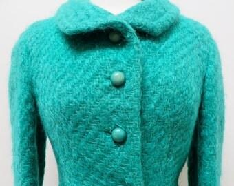 Vintage 1950's/Green Mohair Wool Jacket Medium/Green Wool Jacket Medium/Irish Designer Jacket/50's Green Jacket/Renee Meneely/ M