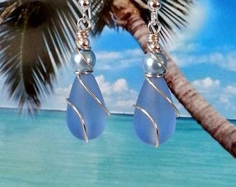 Blue teardrop seaglass beads pearl wire wrapped earrings beach tumbled glass earrings