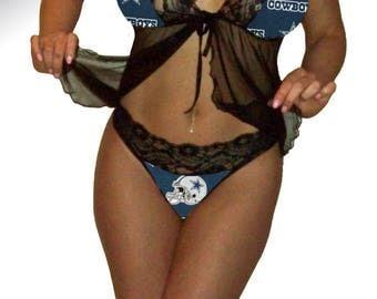 Dallas Cowboys Lace Babydoll Negligee Lingerie Navy Teddy Set with Matching G-String Panty - Size 2X - Ready to Ship