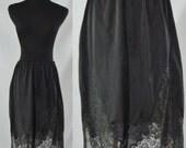 Vintage Skirt Slip - Vintage Black Lace Half Slip - Large / XL Black Lace Lingerie
