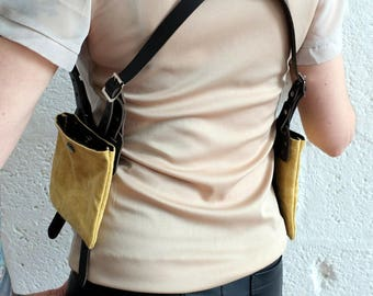 Unisex Leather Shoulder Holster - Dark Brown/Sand - steampunk - burning man - travel - apocalypse - please read description for sizes