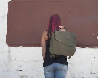 Laptop rucksack, Canvas backpack women laptop backpack bag, vegan leather backpack, green backpack purse, women backpack, school backpack