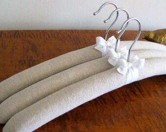 Padded Hangers, Natural Linen Hangers, Homespun Linen Hangers, Linen Hangers, Covered Hangers, Handmade Hangers, Linen Padded Hangers