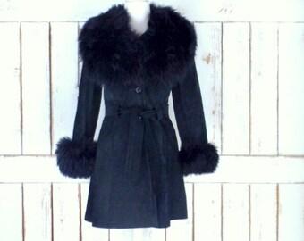Vintage 70s black suede leather faux fur coat/long black suede belted fur jacket/small