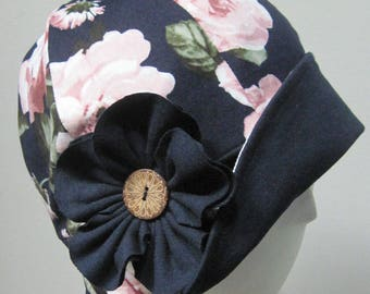 Cloche hat, 20' style,Cap,blue,Hat,flower pattern,Cotton,Spandex, Chemo Caps, Chemo Hat, Stretchy caps,Hat for chemotherapy, chapeau cloche.
