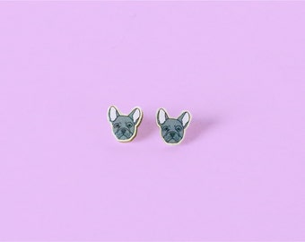 French Bulldog Wood Earrings - Studs
