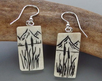 Antler Cattail Earrings – Hand Carved Caribou Antler