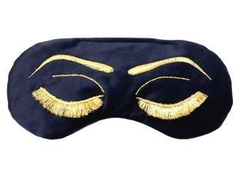 Vintage Glam Eyelashes Sleep Mask in Navy Blue and Metallic Gold