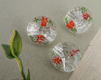 Set of 3 Reverse Painted Glass Paperweight Red Flower Buttons  NDT29