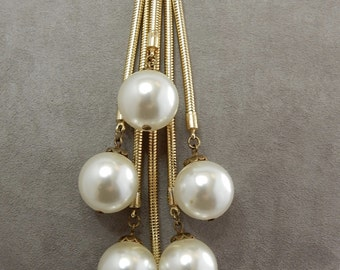 Vintage Lariat Style Necklace w/ Large Pearl Dangle Accent    NEJ14
