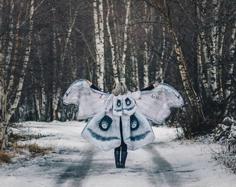 Winter Mooth Butterfly Fairy cape in warm canvas fabric cloak wings costume adult bridal fairy handfasting