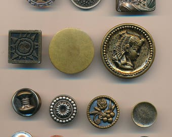 14 Vintage Metal Buttons