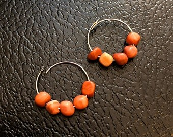 Malachite Gemstone Hoop Earrings