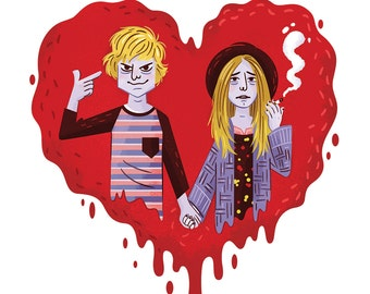 """American Horror Story Tate and Violet 8x8"""" art print"""