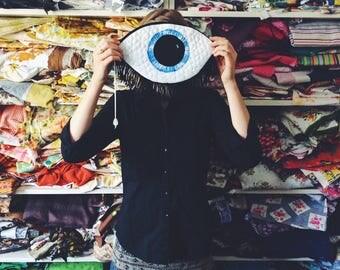 Eye bag - clutch - ooak - purse - bag - thread drawn