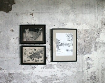 3 Pc Vintage Collage of Black and White / Cat / Map / Lake