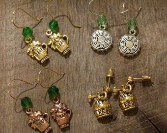 St Patrick's Day Beer Earrings