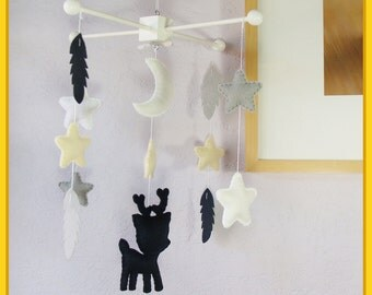 Baby Mobile, Nursery Decor, Deer Baby Mobile, Modern Nursery Decor, Deer Feathers Stars and Moon, Navy Blue Gray and White