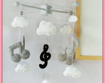 Music Note Mobile, Kids Room Music, Modern Baby Mobile,  Musical Note Nursery, Music Note and Clouds Mobile, Black and White Mobile